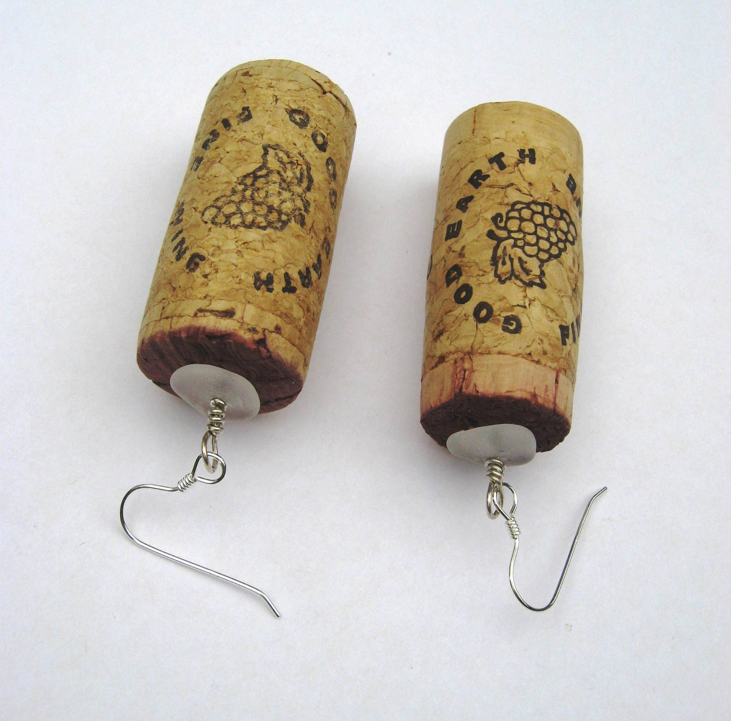 Whole Wine Cork Earrings with Sea Glass and Sterling Silver