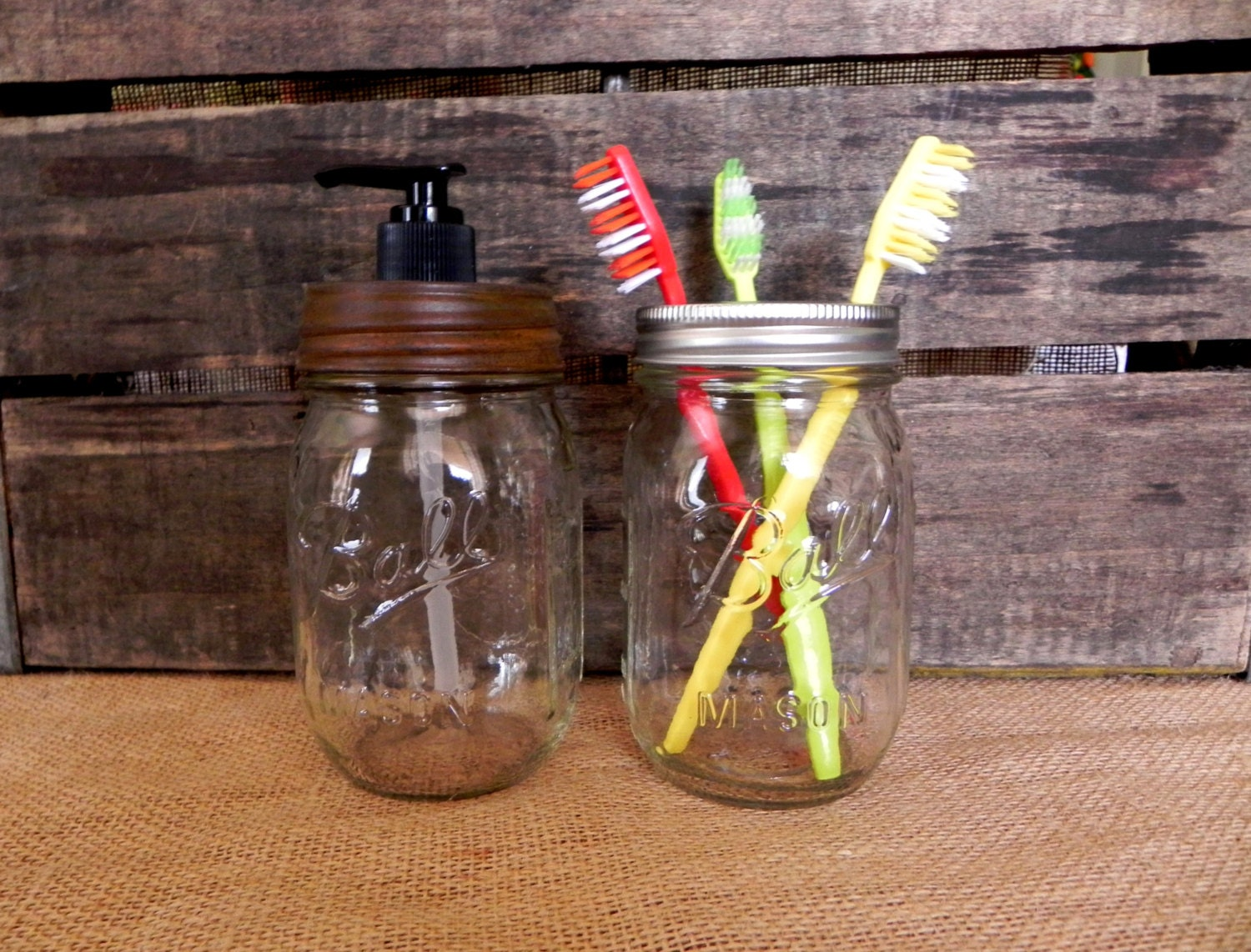 Upcycled, Rustic Ball Mason Jar  Soap Dispenser and Toothbrush Holder Set - LoneStarWaxNBath