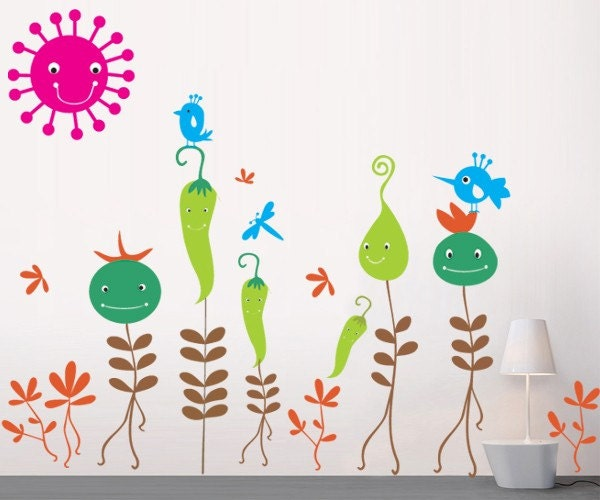 Vegetable Flowers -  Wall Decals Removable Home Decors Murals by PopDecors - popdecors