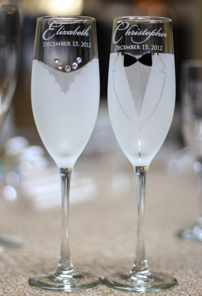 Personalised Wedding Gift Glasses : Personalized Wedding Gift - Toasting Glasses - Pair Bride and Groom ...