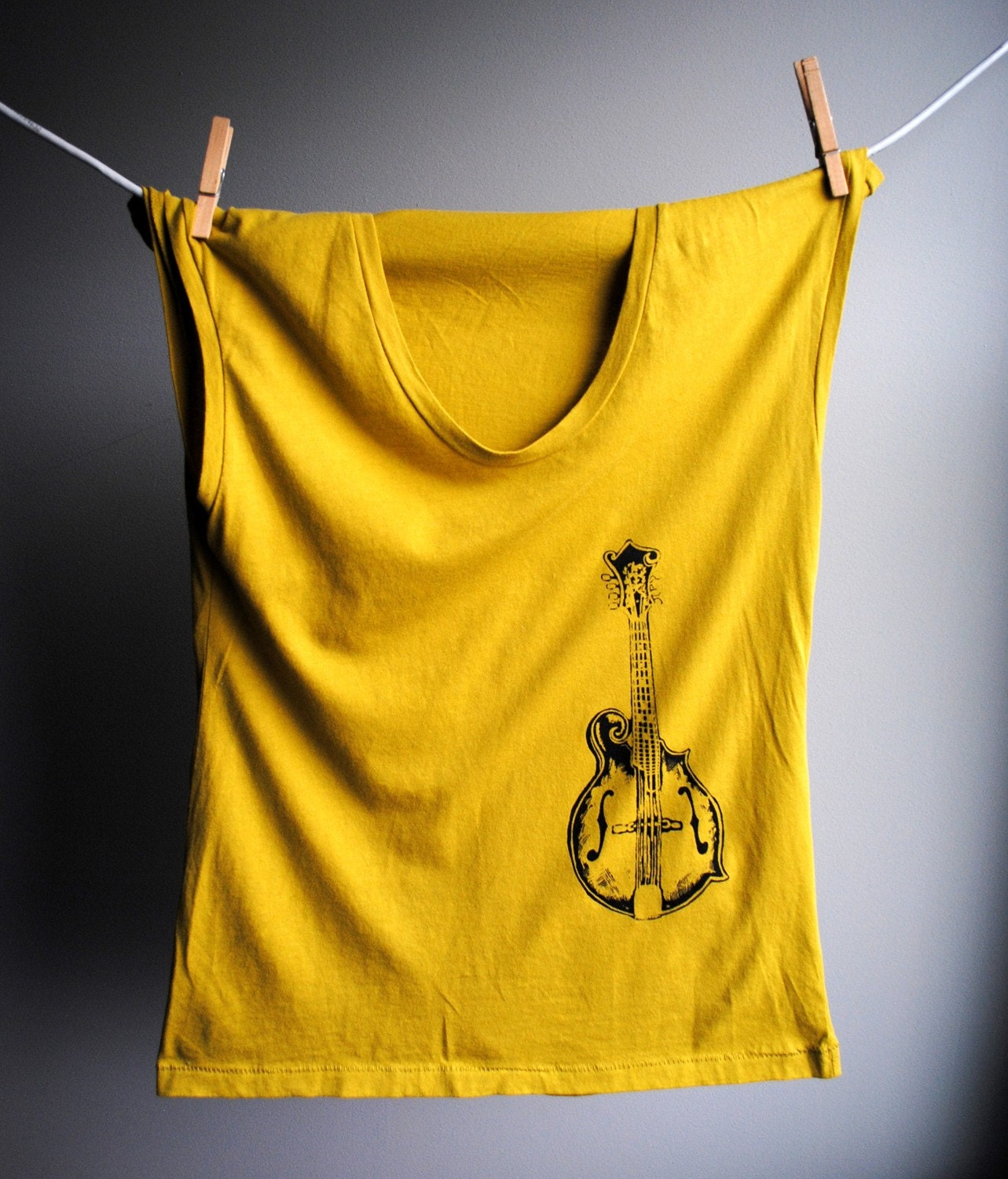 Mandolin Womens Tank - Sleeveless Dijon Yellow TShirt -  Screen printed in Black Ink - Size Medium