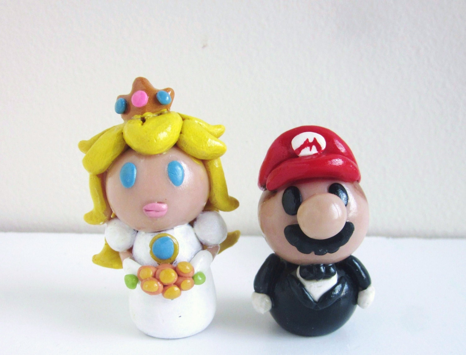 Items Similar To Mario And Princess Peach Wedding Cake Topper Of Figure Set On Etsy