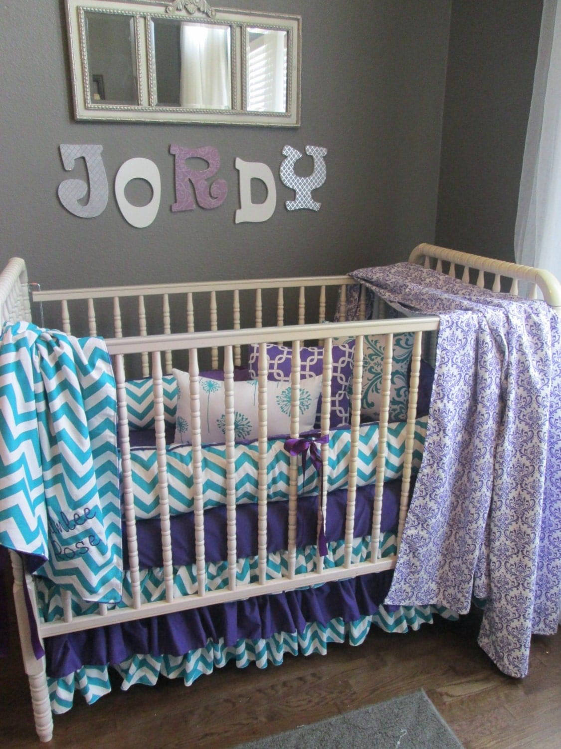 Candy purple and true turquoise custom baby bedding set on etsy