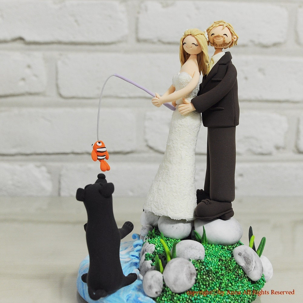 Fishing at beach lake theme custom wedding cake by annacrafts for Fishing cake topper