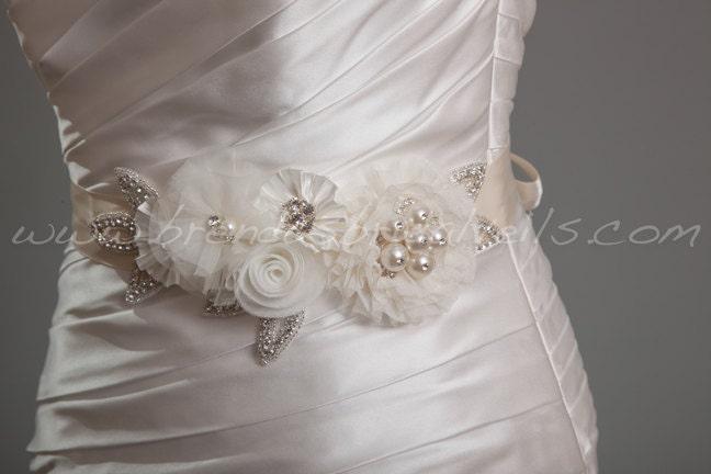 Ivory and Cream Bridal Sash, Wedding Belt, Rhinestone and Pearl Flower Sash - Dove