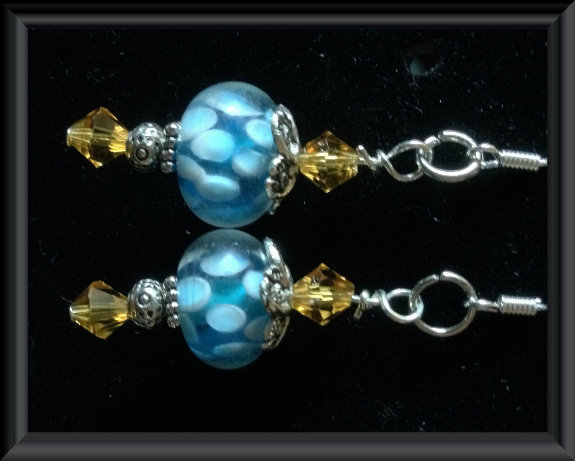 AQUA Spotted Lampwork Beaded EARRINGS: Golden Yellow CRYSTAL Gemstones, Silver Plated Accents, Sterling Silver Earwires - TwinklingOfAnEye