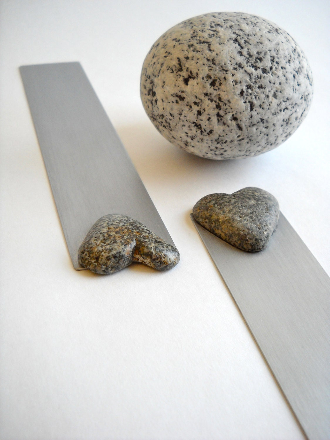 Heart shaped Beach Stones Bookmark Pair for Couples