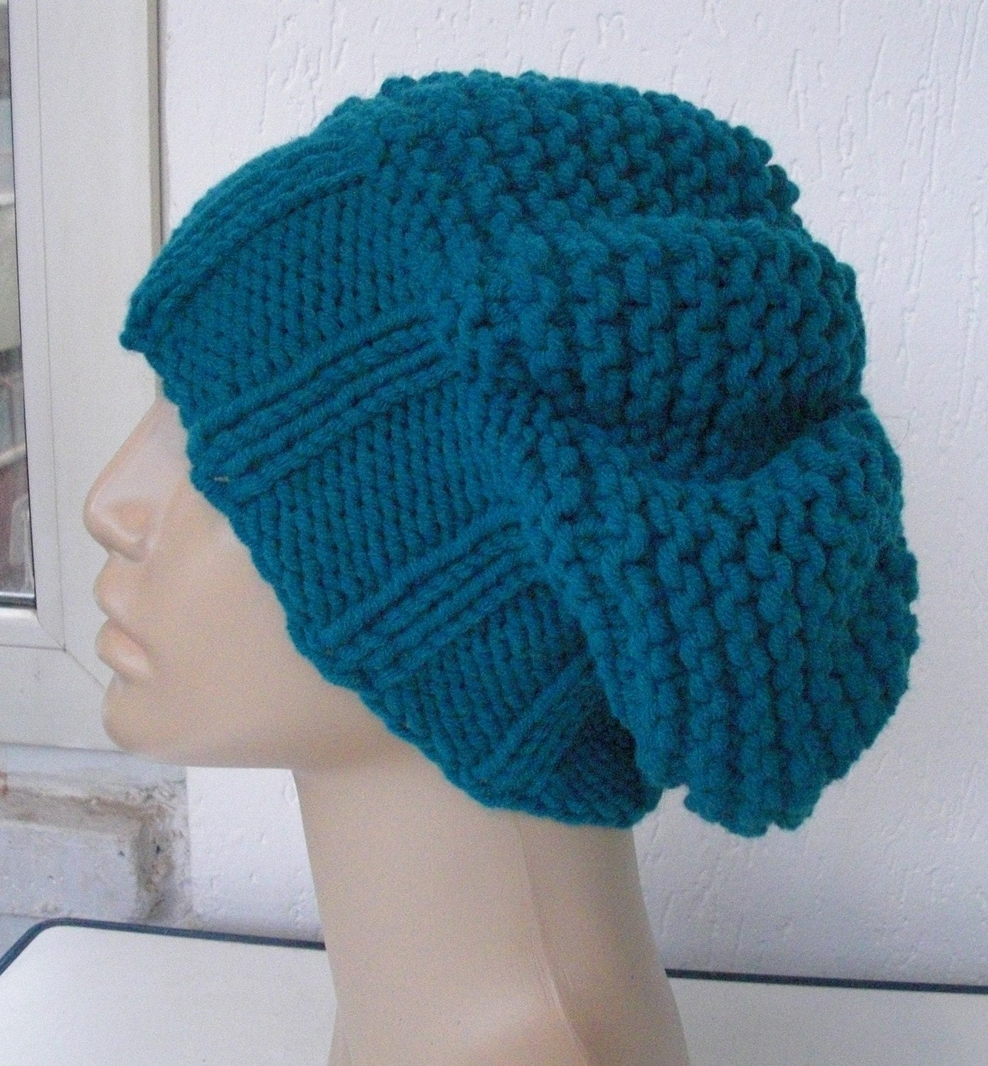 Petroleum Blue Hand Knit slouchy  Hat  Beanie by Ebruk on Etsy from etsy.com