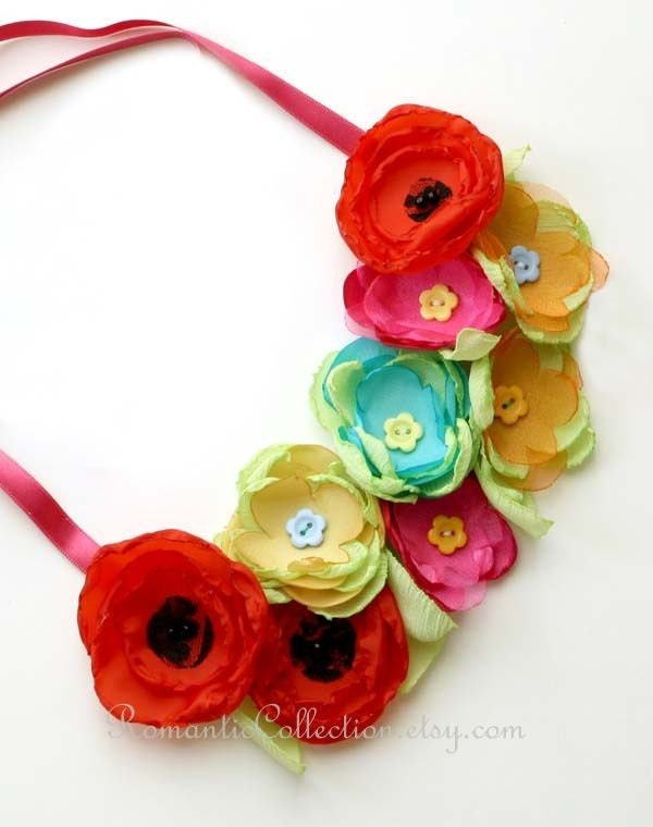 Spring flowers -- red poppies pink blue flowers with apple green leaves bib necklace