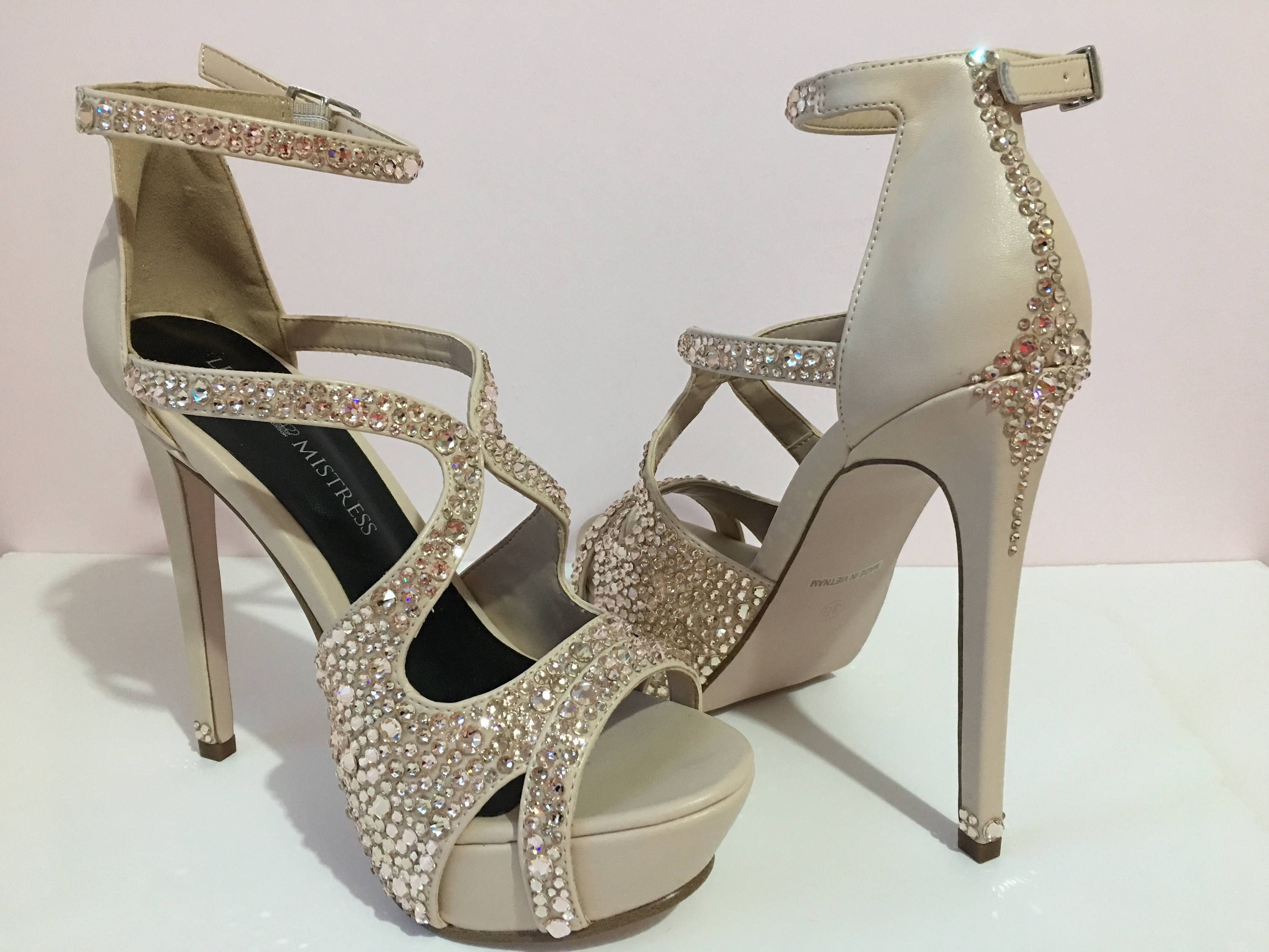 Swarovski Heels  Wedding Shoes Nude Heels Platform Shoes  Statement Shoes