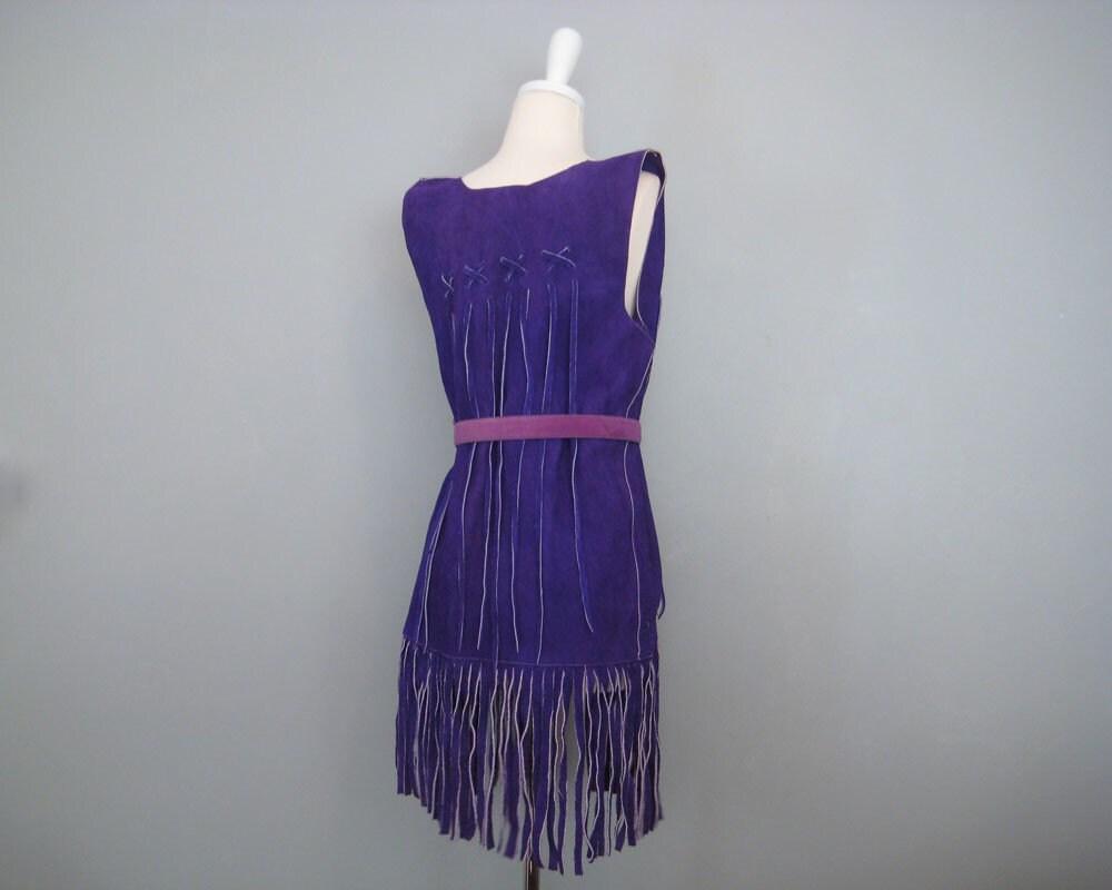 vintage HIPPIE purple fringe WOODSTOCK vest . M