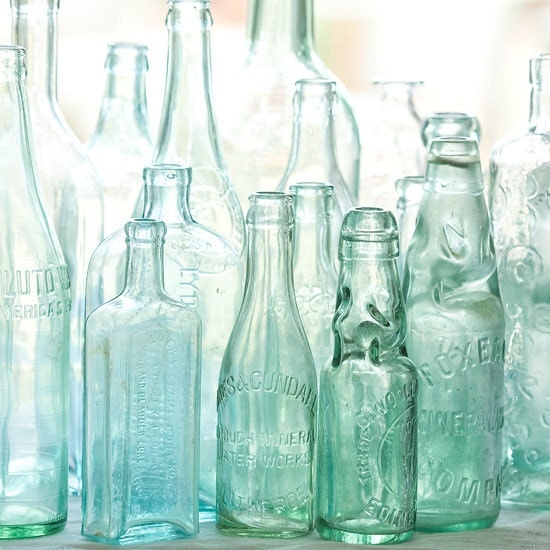antique bottles 8 x 8 square... sunlight through blue green glass by leaping gazelle - leapinggazelle