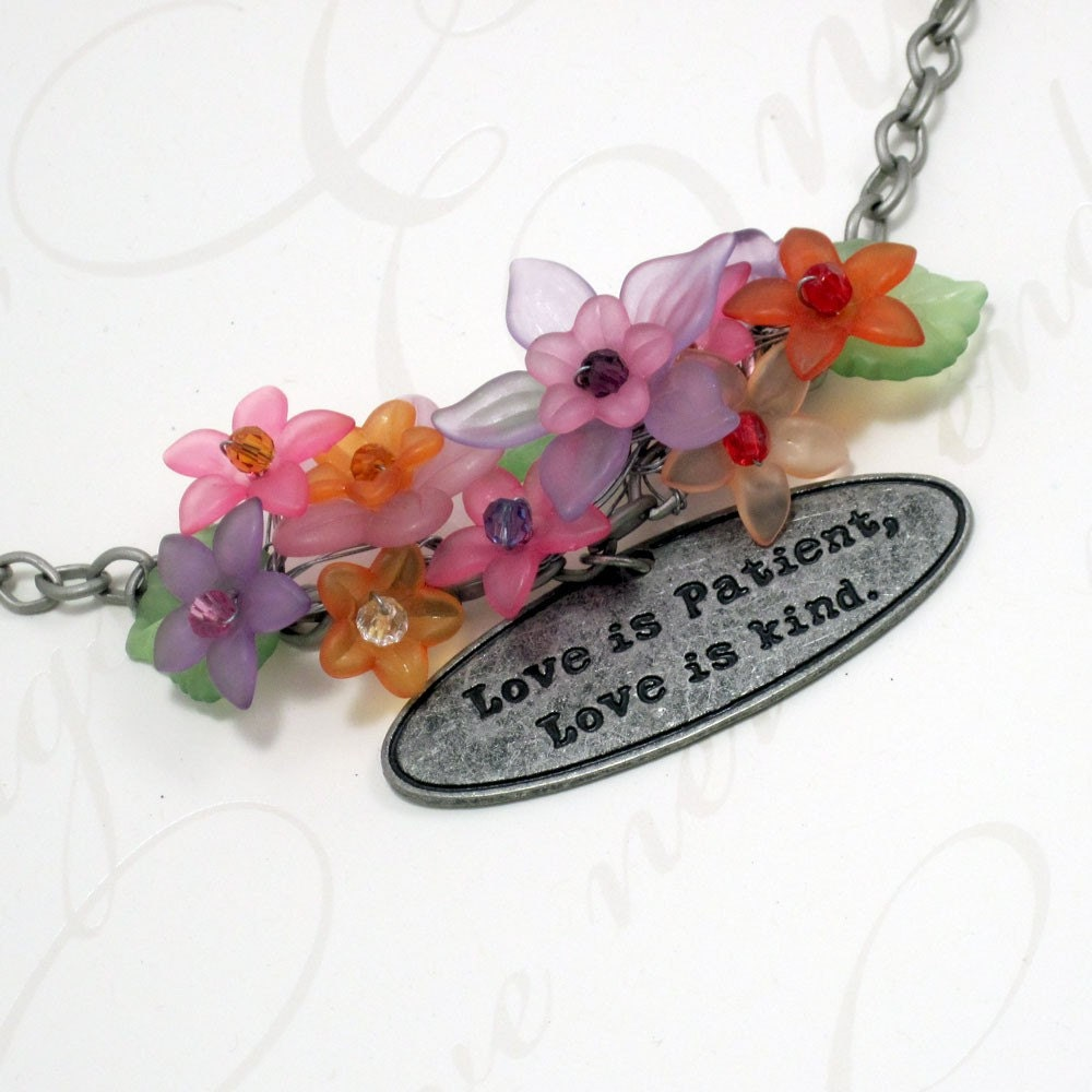 Spring Flower Necklace w Love Quote Charm - Nature of Love