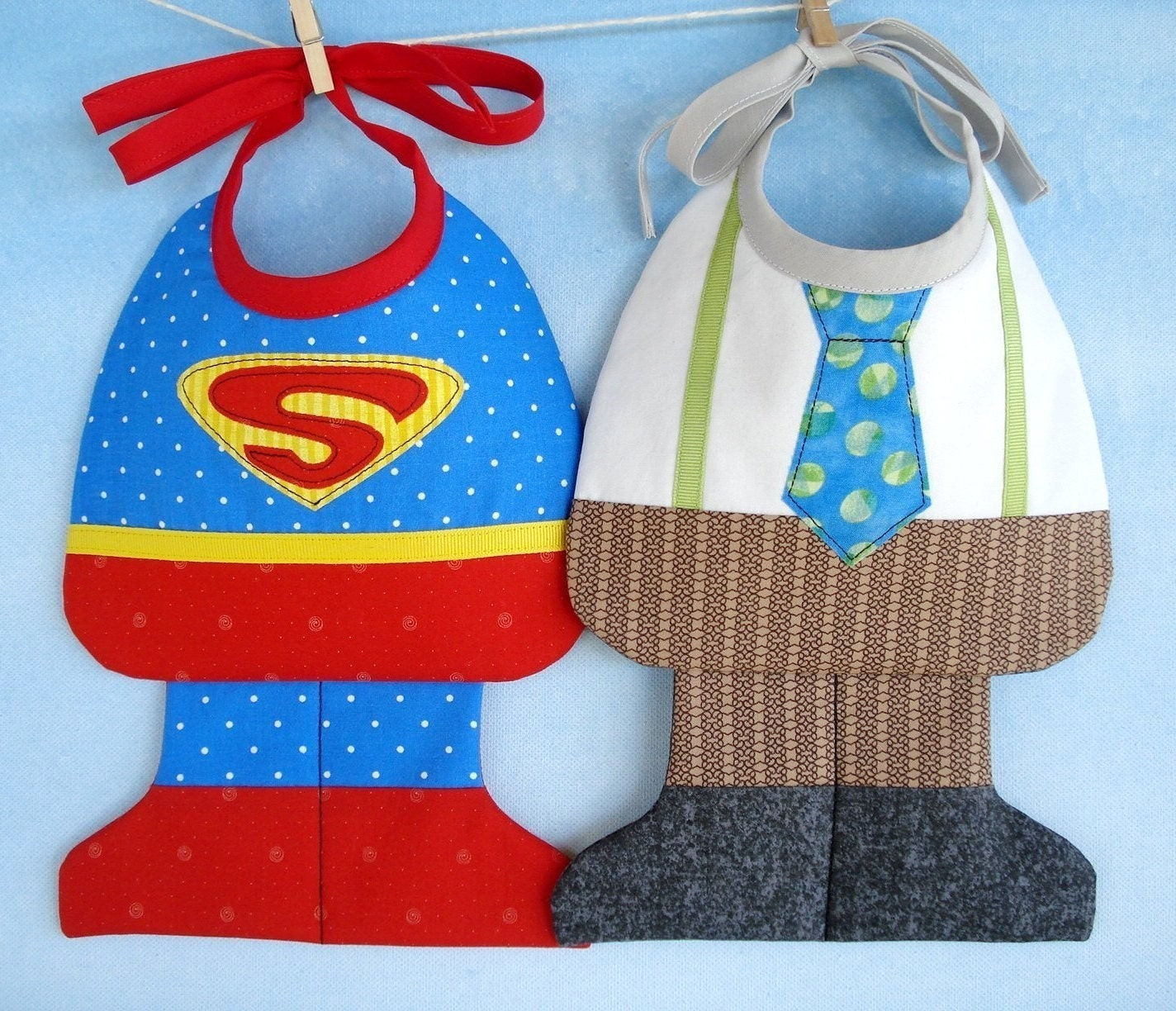 SALE - PDF ePattern - Super Baby and Little Man Baby Bib Sewing Pattern