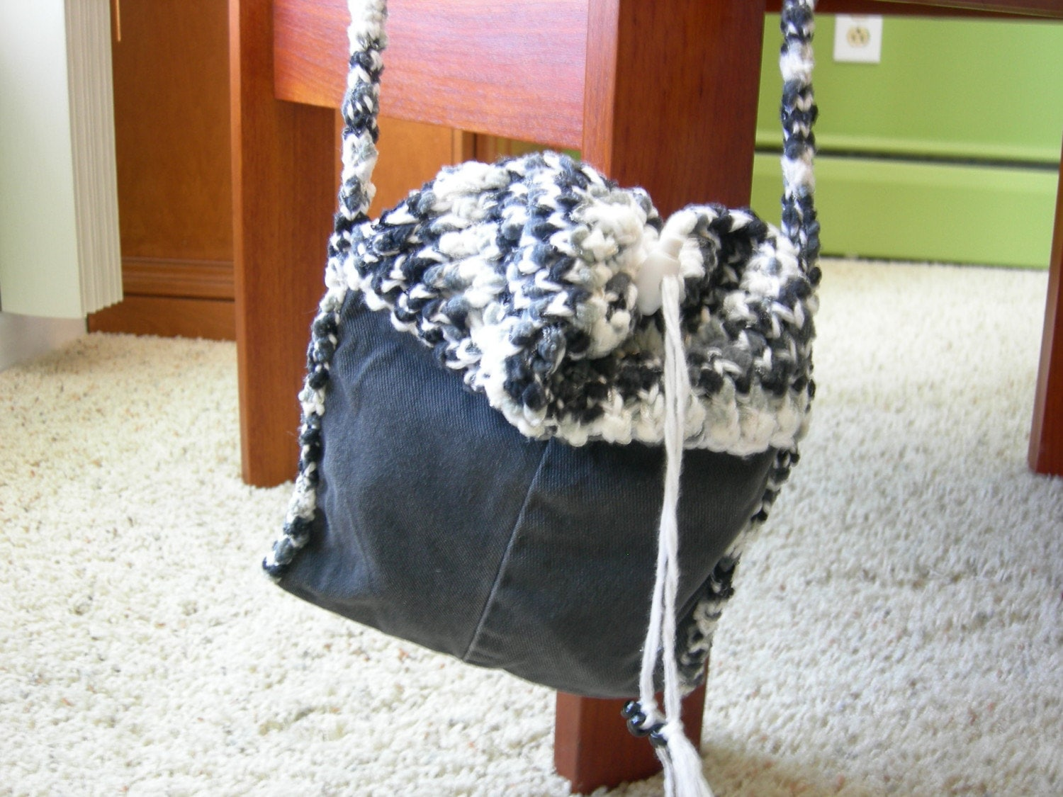 SALE-  Black  Denim Jean Purse with Andes Knit Drawstring Top