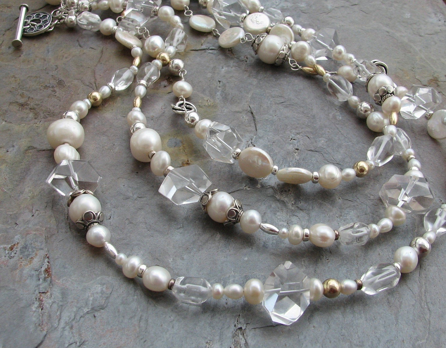 Pearls, rock crystal quartz, bold beautiful long necklace