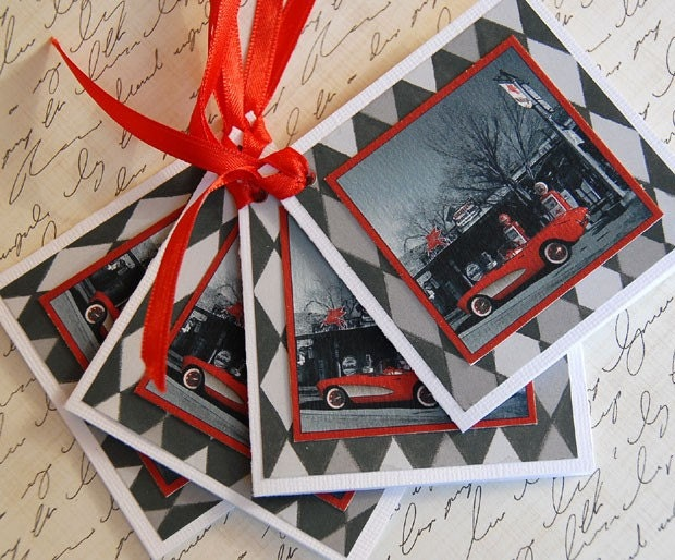 Route 66 Red Corvette Gift Tags - Set of Four