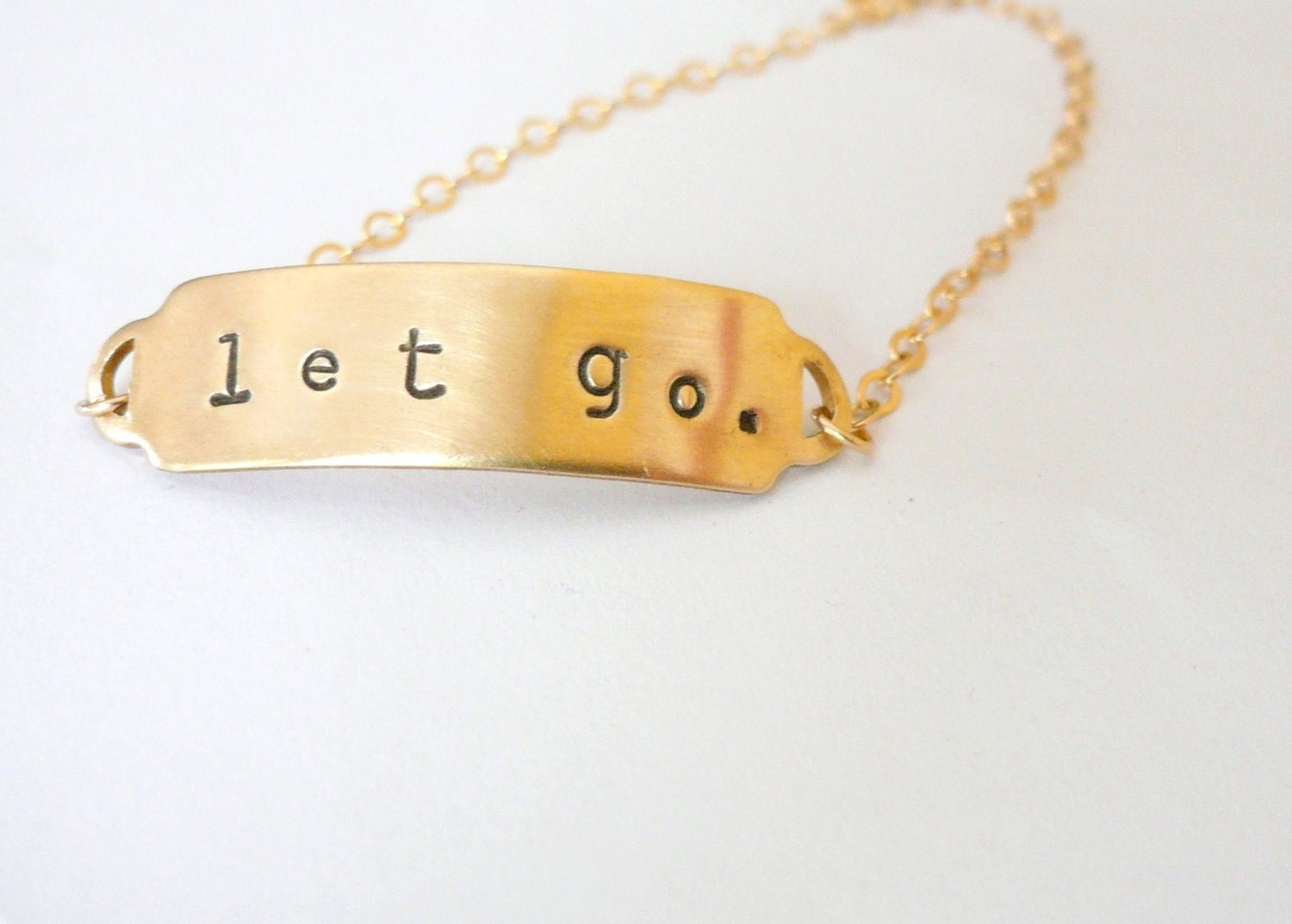 Let go. ID bracelet. Personalized. Brass bracelet with rustic stamped name or monogram linked with 14K gold fill chain. - minusOne