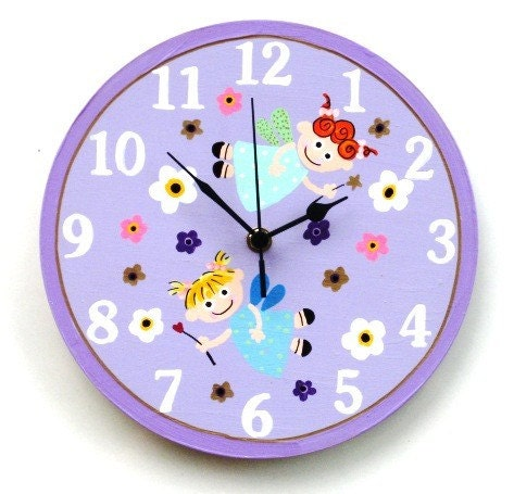 Lilac Wall Clock With Fairies Painting