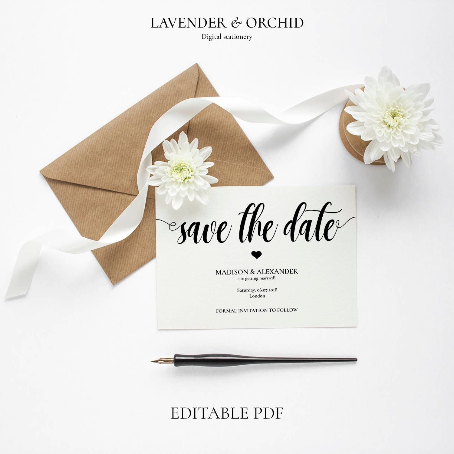 Save the Date template Save the date pdf Printable Save the date  Save the date cards Weddings Wedding Invitation Instant download PDF