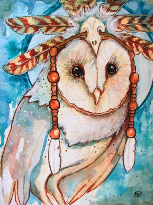 Shaman Barn Owl Feathers Headdress Fine Art 8x10 By