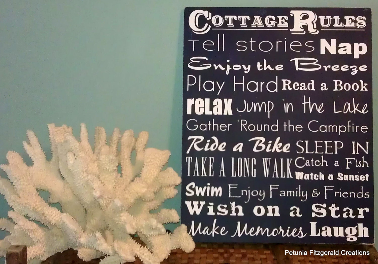 16x20 Cottage Rules Typography Style Painting