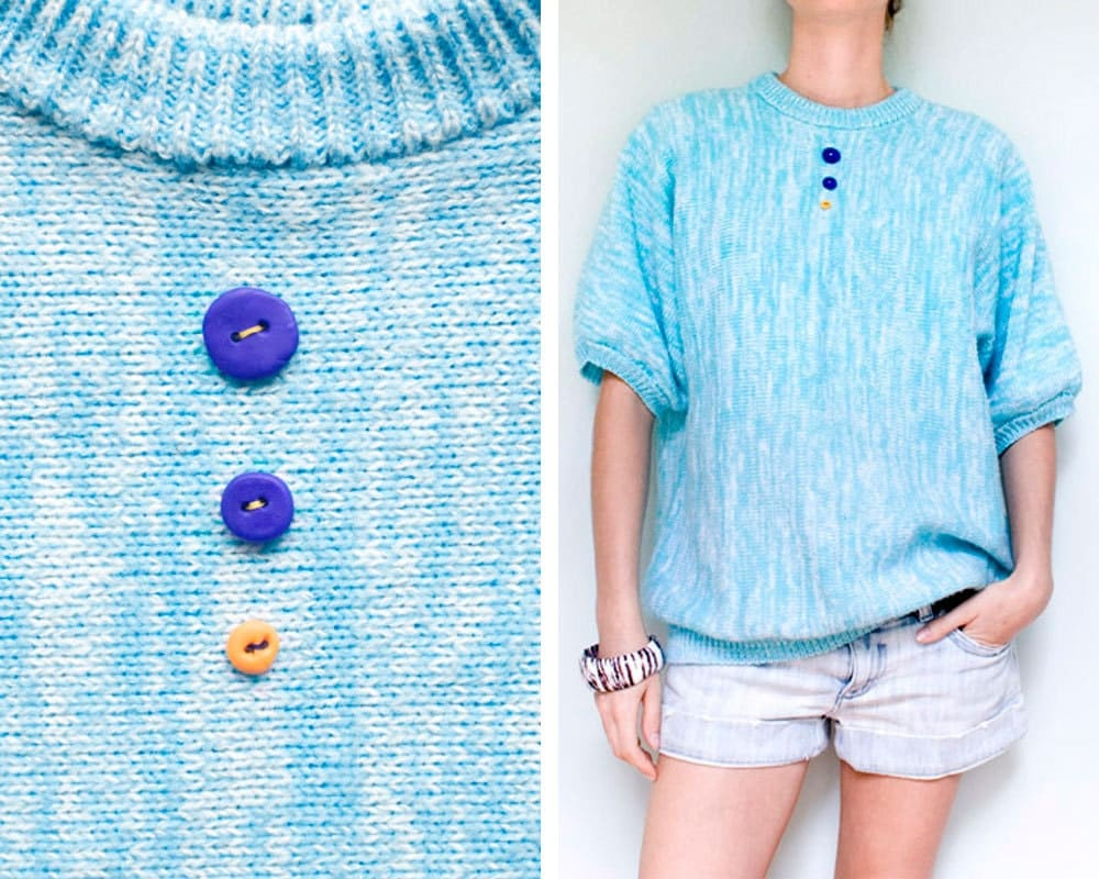 ICE JESTER - Knitted Sweater Jumper Light Blue with Hand Made Buttons - Upcycled Fashion - One of a Kind - LucianDesigns