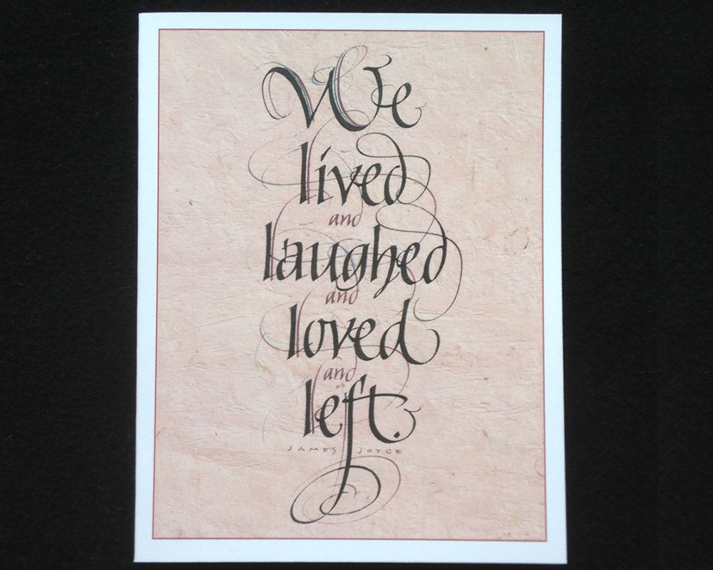 James joyce calligraphy greeting card by larryorlandodesign