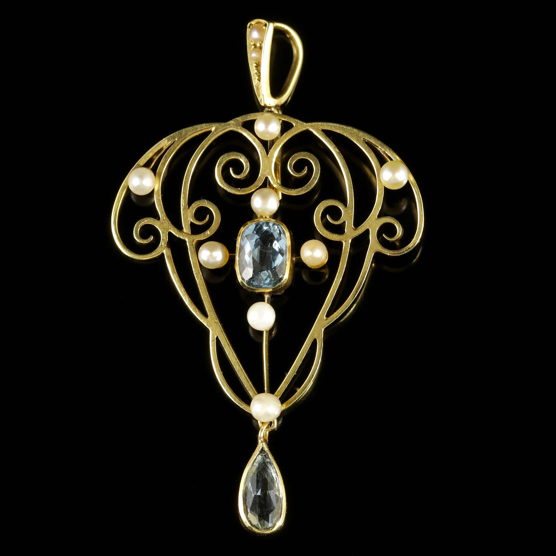 Antique Aquamarine Pearl Gold Pendant 15ct Gold