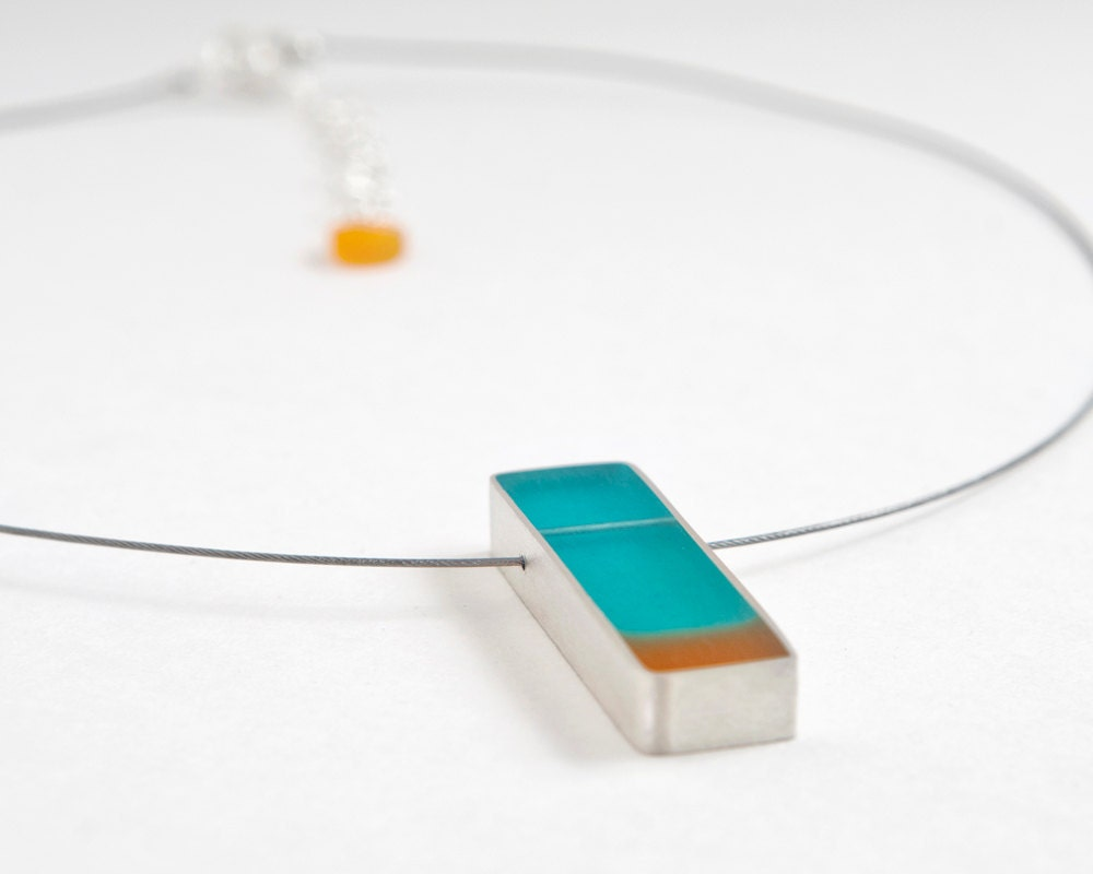 Fix You cable necklace in aqua/teal and orange resin and sterling silver - Mother's Day gift - LollyJoLolli