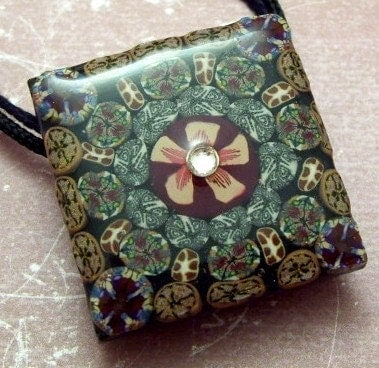 Patchwork Polymer Clay Tile Pendant Necklace