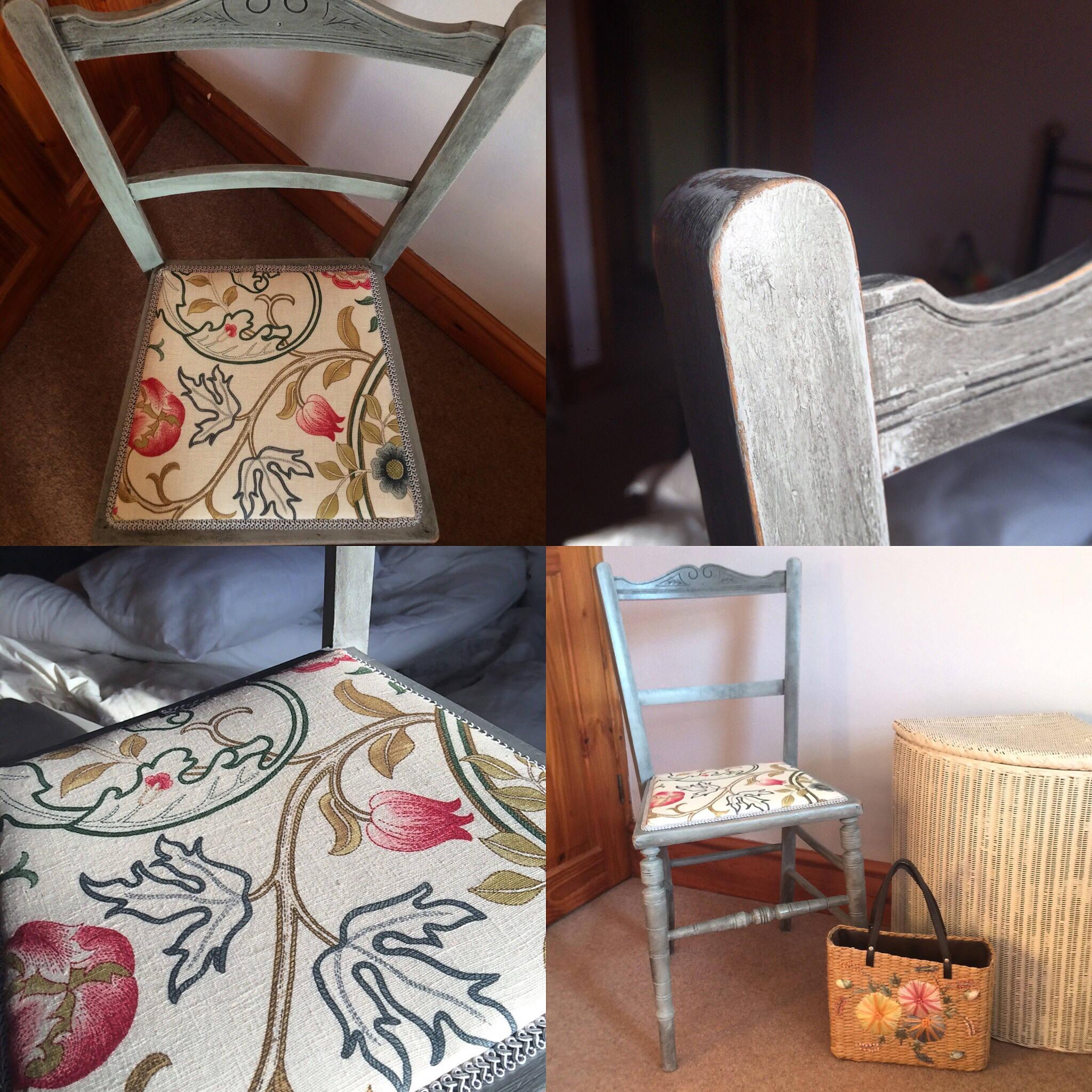 Vintage Edwardian Bedroom Chair William Morris Fabric