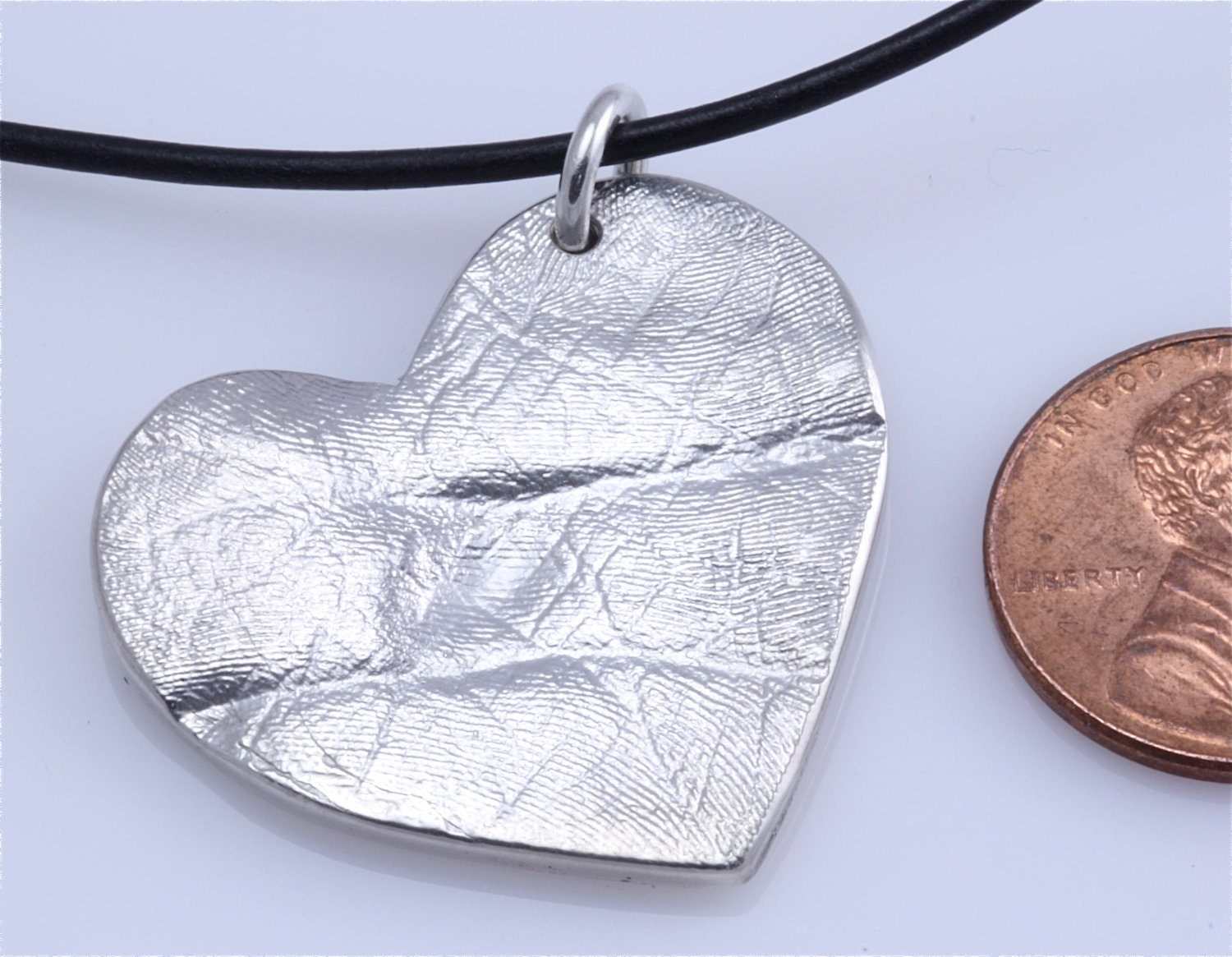 Custom Child's Palm or Foot texture Heart Pendant made from sterling silver