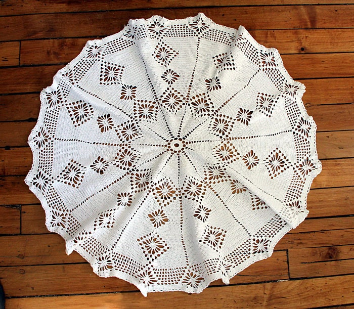 Free Crochet Patterns Round Table Toppers : Crochet Round Doilie Table Topper 32 inch by albrechtsantiques
