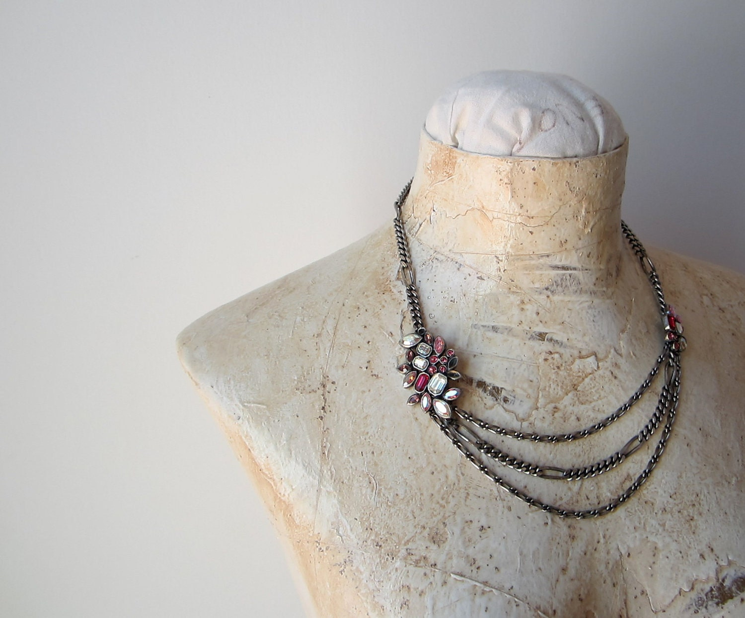 triple chain necklace with pink stones and crystal diamonds