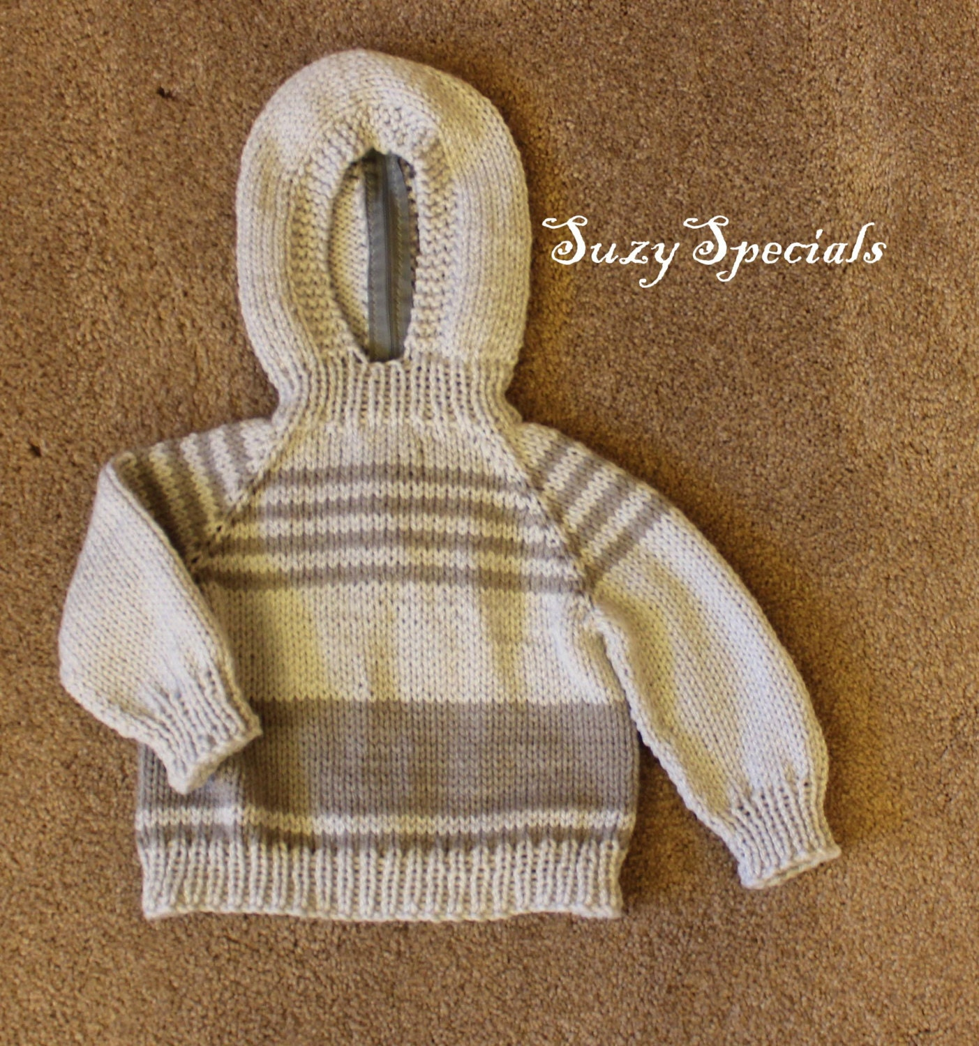 Knitting Pattern For Baby Sweater With Zipper In The Back : Knitted Hooded Baby Sweater with Back zipper Soft by SuzySpecials