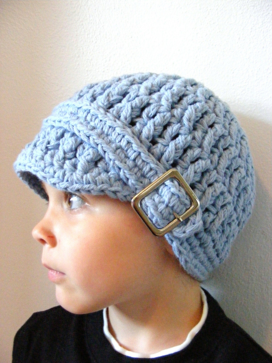 2T to 4T Toddler Cotton Visor Square Buckle Beanie - Light Blue