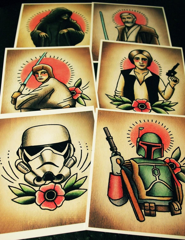 Traditional Tattoo Flash Star Wars Star wars traditional tattoo