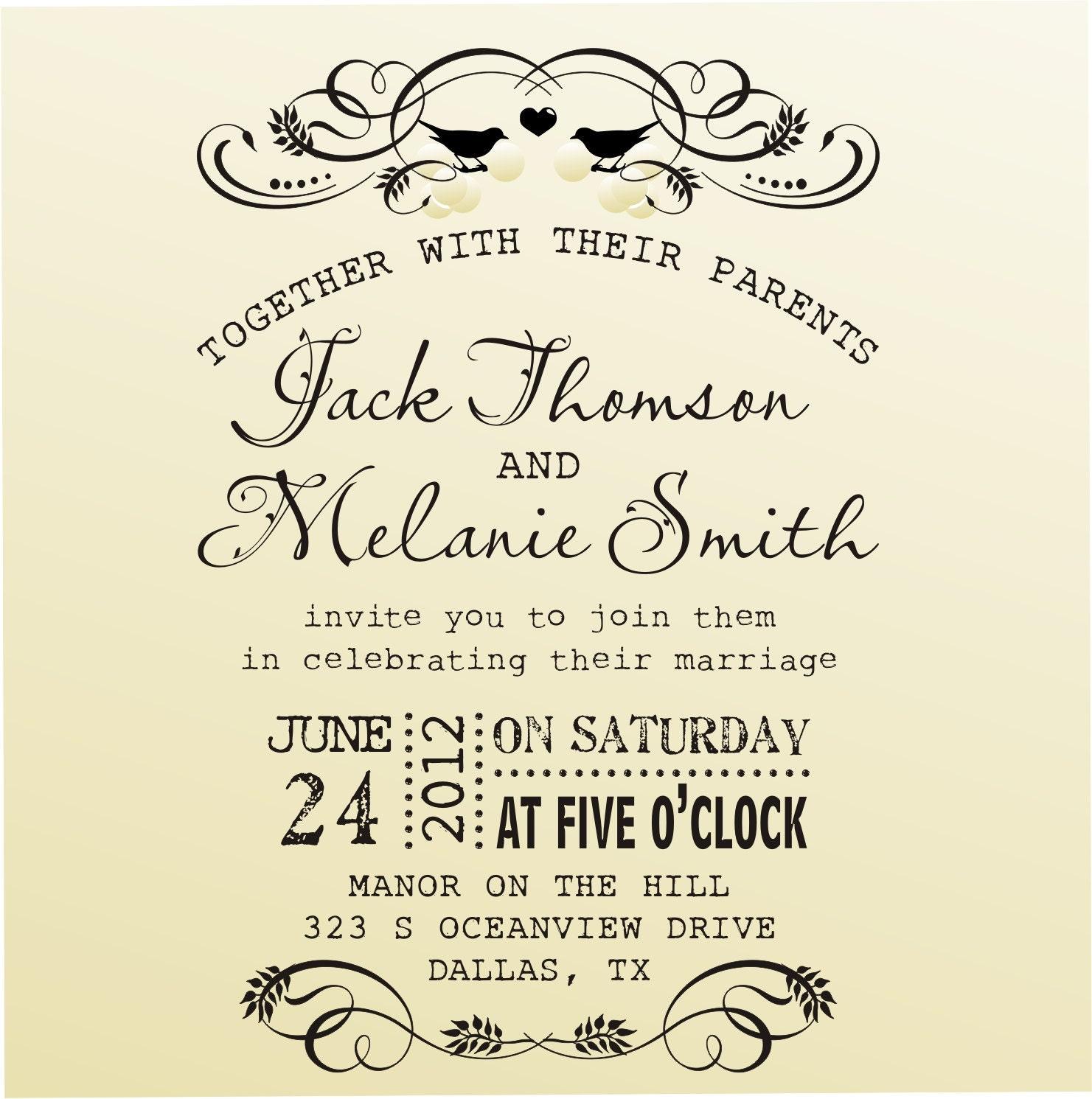 DIY Wedding Invitation Vintage Design By Lovetocreatestamps