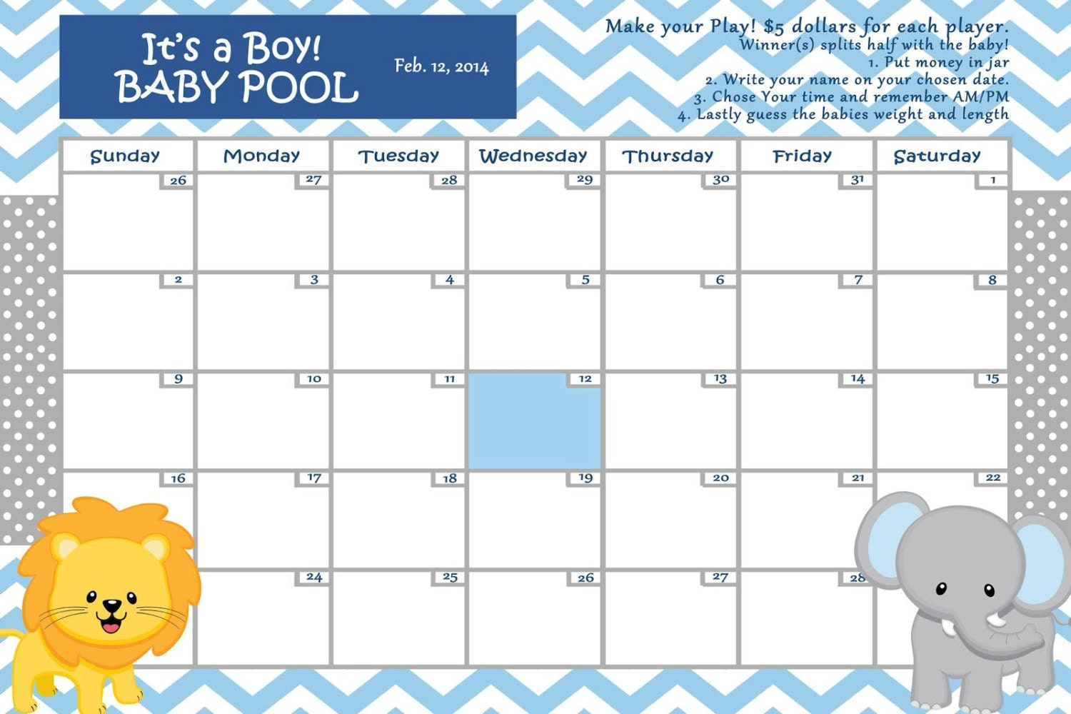 Customize Baby Calendar for Baby Sh ower Pool Game (Digital File) ...