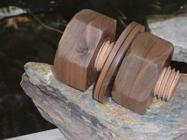 STASH BOLT Jumbo nut and bolt w/ washers TEAK wood