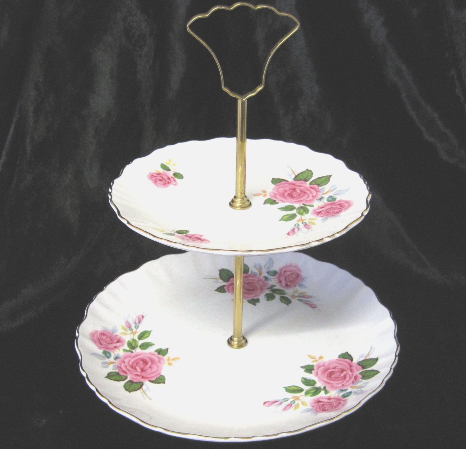 Vintage Old Foley TwoTier Cake Stand, Pink Roses, Shabby Chic - TheWhistlingMan