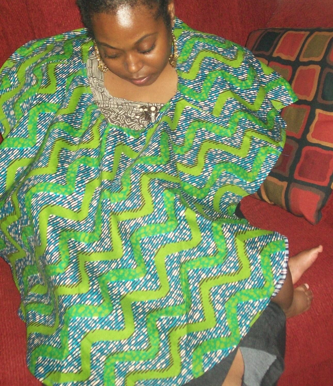 Nursing Shawl Green and Turquoise Wax Print