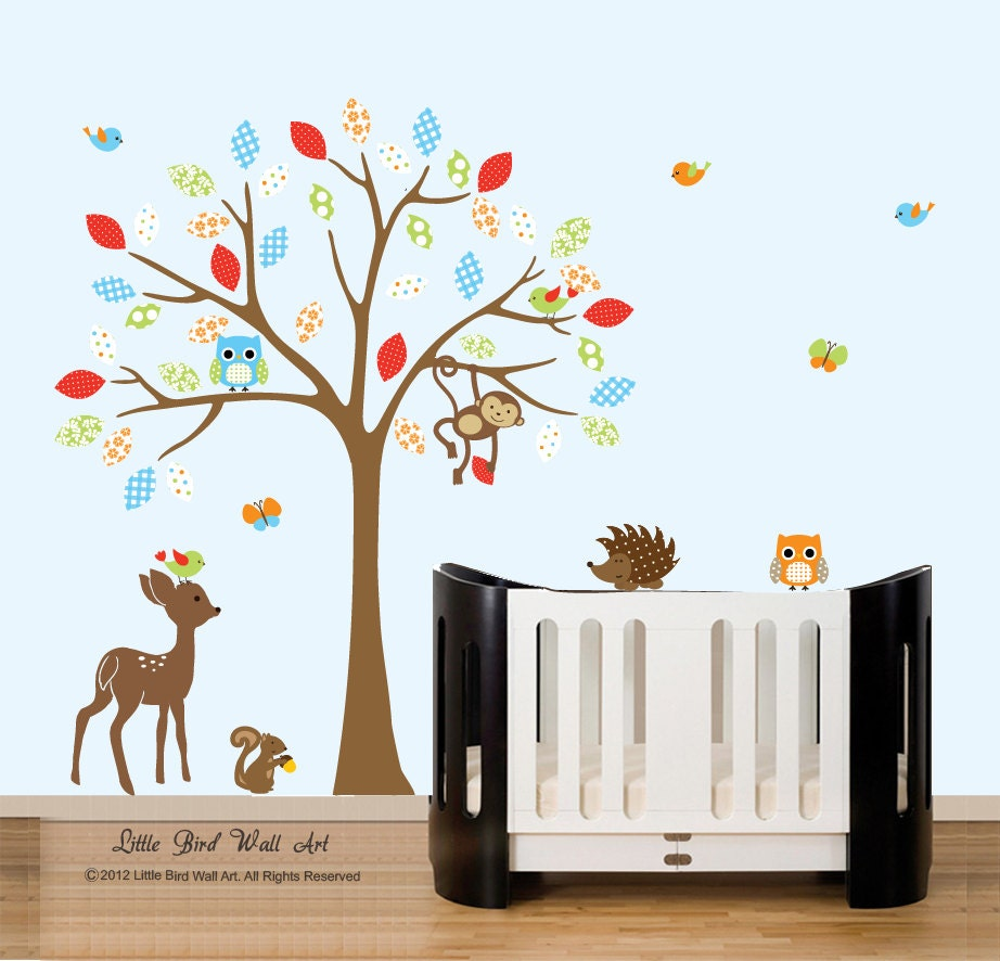 Baby wall decals childrens nursery tree by for Baby nursery tree mural