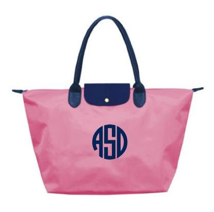 Monogrammed/Personalized Pink & Navy Large Champ Tote Bag