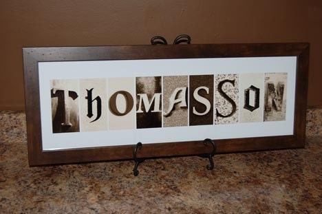 Brown Custom Name Frame with Sepia Alphabet letters, 8x24