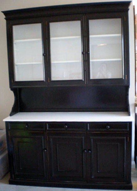 Kitchen Hutch Cabinet Upcycled Black And White By
