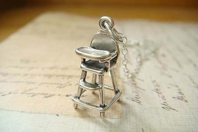 HIGH CHAIR - Sterling Silver Charm Hanging on a FREE Silver Plated 18 inch Chain