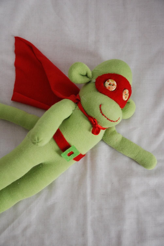 sock monkey, stuffed animal, superhero monkey - green super hero - GARBUBOT