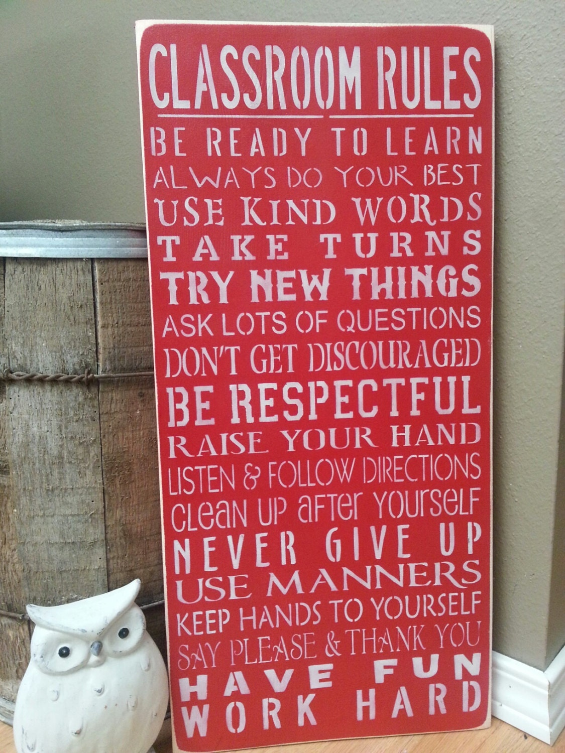 Classroom Rules Decor : Classroom rules hand painted wood sign teacher by simplegalz